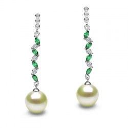Orecchini in argento 925, zirconi tormaline verdi Perle d'acqua dolce AAA