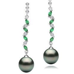 Orecchini Argento 925 Zirconi Tormaline Verdi e Perle di Tahiti