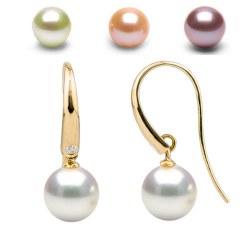 Orecchini in Oro 18k Diamanti e Perle d'acqua dolce DOLCEHADAMA