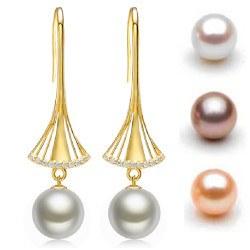 Orecchini in oro 18k con perle d'acqua dolce 10-11 mm DOLCEHADAMA e diamanti