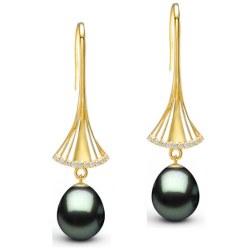 Orecchini oro 18k diamanti con perle di Tahiti Drop (goccia) qualità AAA