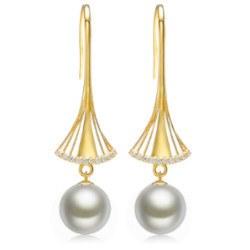 Orecchini Oro 18k Diamanti e perle Australiane bianche argento 10-11 mm AAA