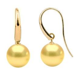 Orecchini in oro 18k e perle filippine dorate di qualità AAA