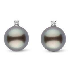 Orecchini Oro 18k con perle nere di Tahiti AAA e diamanti