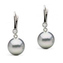 Orecchini di perle Blu Akoya argentate, traversine oro 14k con diamanti