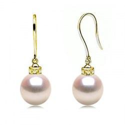 Orecchini in oro 18k con diamanti e perle di coltura Akoya diametro 9-9,5 mm