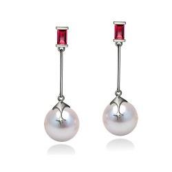 Orecchini di perle di coltura Akoya, 9-9.5 mm, bianche, oro 18k e due rubini