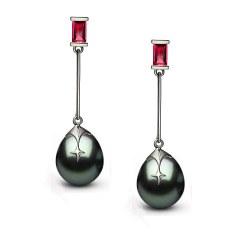 Orecchini Argento 925 rodiato, rubini e perle di Tahiti a goccia 10-11 mm AA+