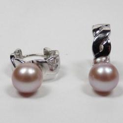 Orecchini in Argento 925 con perle d'acqua dolce 8-9 mm Lavanda AAA