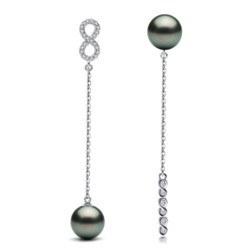 Orecchini in argento 925 con perle di Tahiti e zirconi