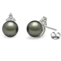 Orecchini in oro 18 carati con perle nere di Tahiti AAA e diamanti