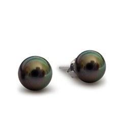 Orecchini oro 18k perle nere di coltura di Tahiti, 11-12 mm