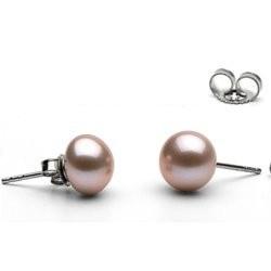 Orecchini Oro 14k e perle d'acqua dolce 9-10 mm Lavanda a bottone AA+