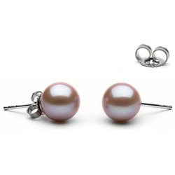 Orecchini oro 18k perle di Acqua Dolce 8-9 mm Lavanda AAA