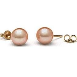 Orecchini Oro 14k di perle d'Acqua Dolce 10-11 mm rosa pesca AAA