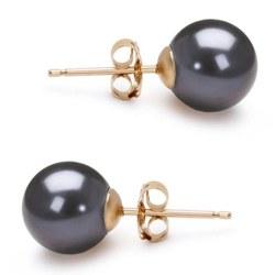 Orecchini oro 14k perle di Acqua Dolce 7-8 mm nere AAA