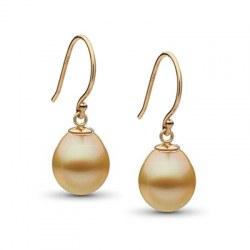 Orecchini in oro 18k con perle dorate Drop filippine a goccia AA +