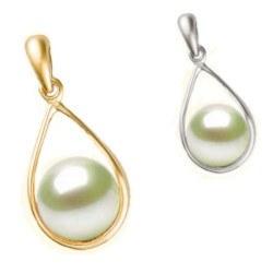 Pendente in oro 18k con perla Akoya bianca di qualità AAA
