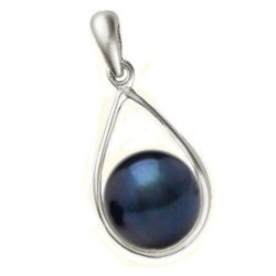 Pendente in oro 18k con perla Akoya nera di qualità AAA