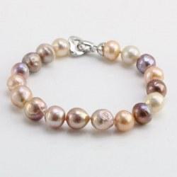 Braccialetto di perle Ripple Kasumi d'acqua dolce 10-12 mm multicolori 18 cm