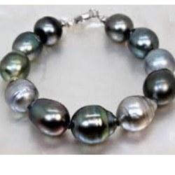 Braccialetto di perle barocche di Tahiti multicolori da 8,7 à 10,8 mm