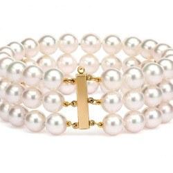 Braccialetto triplo filo 18 cm con 2 barrette oro 14k perle d'acqua dolce 6-7 mm