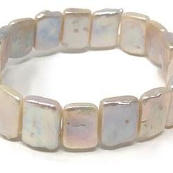 Bracciale elastico con perle d'acqua dolce piatte rettangolari 11x16 mm bianche