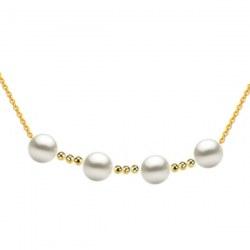 Collana con 4 perle Akoya bianche 8,5-9 mm AAA e 9 biglie in oro 18k su catenina forzato