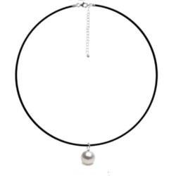 Cordone Caucciù con pendente Argento perla Acqua dolce AAA