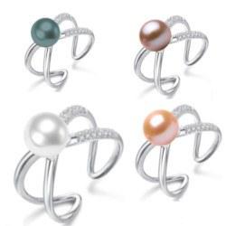 Anello Argento 925 con zirconi e perla d'acqua dolce AAA