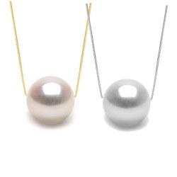 Perla di coltura Akoya AAA su catenina 40/45 cm in oro 14k o 18k
