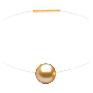 Collana Perla di coltura dorata Akoya 8-8,5 mm AAA su filo di nylon e oro 18k