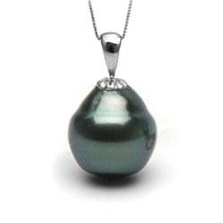 Pendente in oro 14k con perla di Tahiti Barocca 10-11 mm