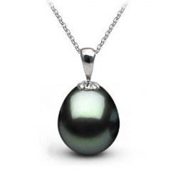 Pendente in oro 14k con perla di Tahiti a forma di goccia 10-11 mm AAA