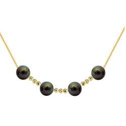 Collana con 4 perle nere di Tahiti 9-10 mm AAA e 9 biglie in oro 18k su catenina forzato