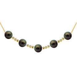 Collana con 5 perle nere di Tahiti 9-10 mm AAA e 12 biglie in oro 18k su catenina forzato