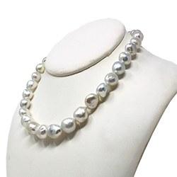 Collana 43/44 cmdi perle barocche australiane bianche argento da 9 a 13 mm