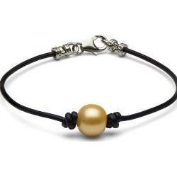 Bracciale in cuoio con perla dorata delle Filippine fissata tra due nodi e fermaglio in argento