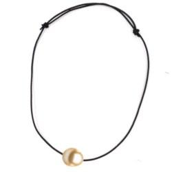 Laccio cuoio a nodi scorrevoli passante una Perla Filippina a goccia dorata AAA