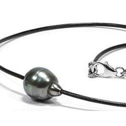 Cuoio con fermaglio in Argento 925, perla di Tahiti barocca 10-11 mm