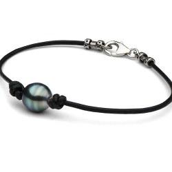 Braccialetto o Collana in cuoio con perla di Tahiti Barocca tra 2 nodi e fermaglio in argento