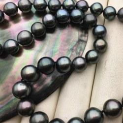 Collana di perle di Tahiti da 9 a 11 mm di qualità AA Lunghezza 43/44 cm