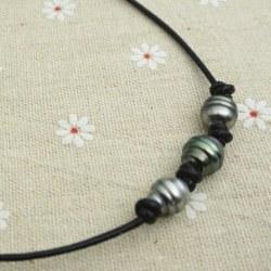 Collana in cuoio con 3+1 perle Tahiti Barocche 10-11 mm