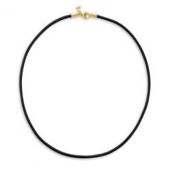 Cordone di cuoio nero cerato di 42 cm con fermaglio in oro 18k per pendenti
