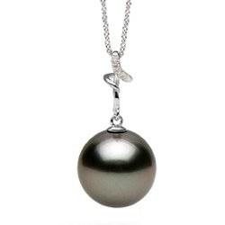 Pendente Argento diamanti Perla nera di Tahiti a partire da 8-9 mm