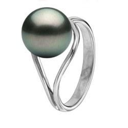 Anello oro 18k perla nera di Tahiti da 9-10 mm