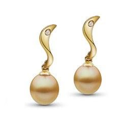 Orecchini oro18k diamanti perle Drop dorate delle Filippine AA+