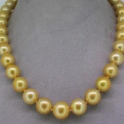 Collana di perle filippine in oro giallo 14k, perle da 10-11 mm AA / AA +