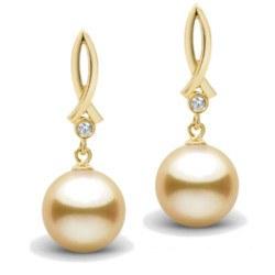 Orecchini in oro 18k con diamanti e perle filippine dorate AAA da 9-10 mm