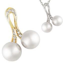 Pendente in oro 14k e diamanti con due perle Akoya bianche da 9-9,5 mm